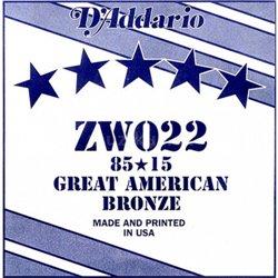 D'ADDARIO ZW022 80/15 Great American Bronze - .022