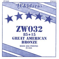 D'ADDARIO ZW032 80/15 Great American Bronze - .032
