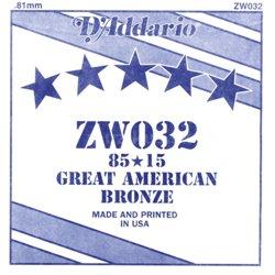 D'ADDARIO ZW032 80/15 Great American Bronze - .032