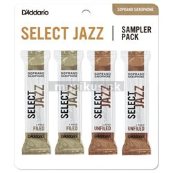 RICO DSJ-I2M Select Jazz Reed Sampler Pack - Soprano Saxophone 2M/2H - 4-Pack
