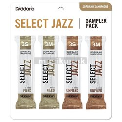 RICO DSJ-I3S Select Jazz Reed Sampler Pack - Soprano Saxophone 3S/3M - 4-Pack