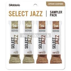 RICO DSJ-I3S Select Jazz Reed Sampler Pack - Soprano Saxophone 3S/3M - 4-Pack