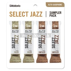 RICO DSJ-J2M Select Jazz Reed Sampler Pack - Alto Saxophone 2M/2H - 4-Pack