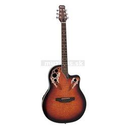Dimavery OV-500 elektro-akustická kytara Ovation, žíhaná sunburst