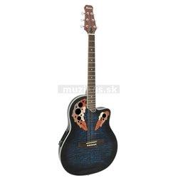 Dimavery OV-500 elektro-akustická kytara Ovation, žíhaná modrá