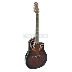 Dimavery OV-500 elektro-akustická gitara Ovation, žíhaná červená