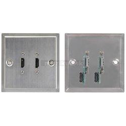 AVlink dvojitá HDMI zásuvka, ocelově stříbrná