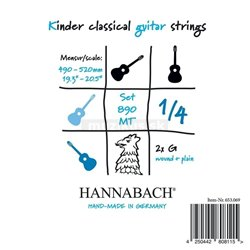 HANNABACH STRINGS FOR CLASSIC GUITAR SERIES 890 1/4 GUITAR FOR CHILDREN DUEL: 49-52 CM E1 8901MT 1/4