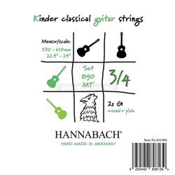 HANNABACH STRINGS FOR CLASSIC GUITAR SERIES 890 3/4 GUITAR FOR CHILDREN DUEL: 57-61CM E1 8901MT 3/4
