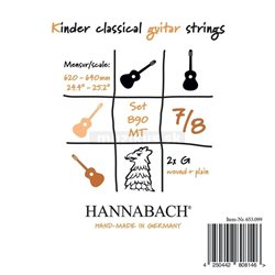 HANNABACH STRINGS FOR CLASSIC GUITAR SERIES 890 7/8 GUITAR FOR CHILDREN DUEL: 62-64 CM E1 8901MT 7/8