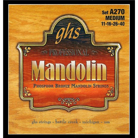 GHS Professional - A270 - Mandolin String Set, Loop End, Phosphor Bronze, Medium, .011-.040