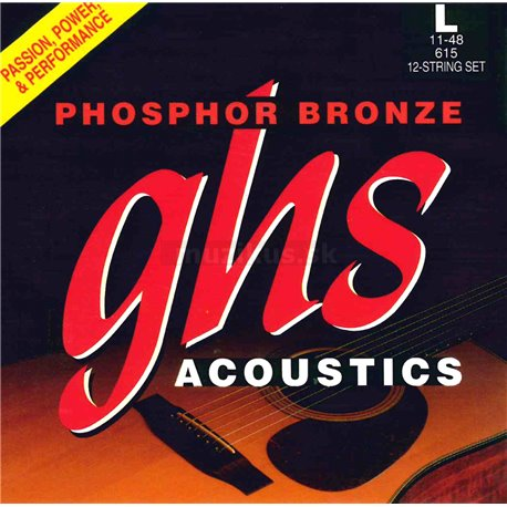 GHS Phosphor Bronze - 615 - Acoustic Guitar String Set, 12 String Light, .011-.048