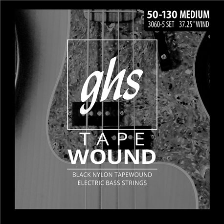 GHS 3060-5 Tape Wound - Electric Bass String Set, 5-String, Medium .050-125 - Black Nylon Tape Wound