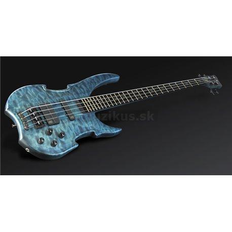 Warwick Masterbuilt Vampyre, 4-String - Turquoise Blue Transparent Satin, Black Hardware + D-tuner