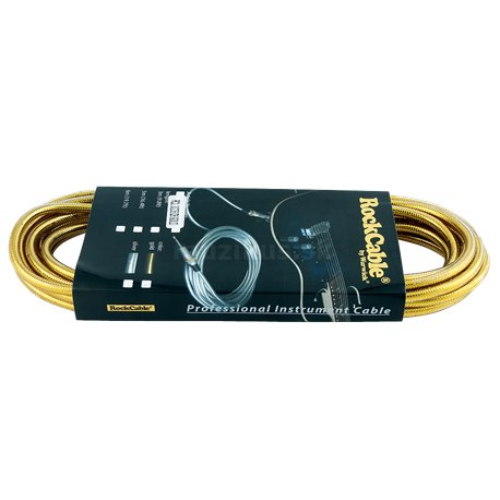 RockCable Instrument Cable - straight/straight, 6 m / 19.7 ft. - Gold