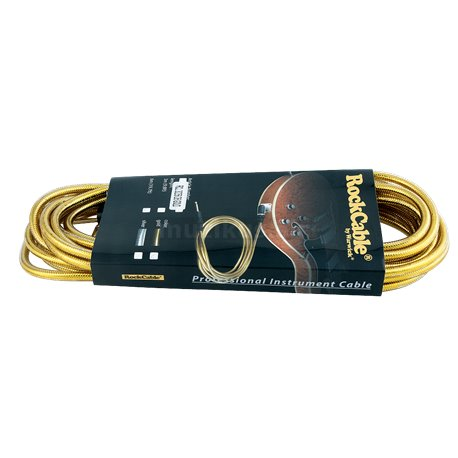 RockCable Instrument Cable - angled/straight, 6 m / 19.7 ft. - Gold