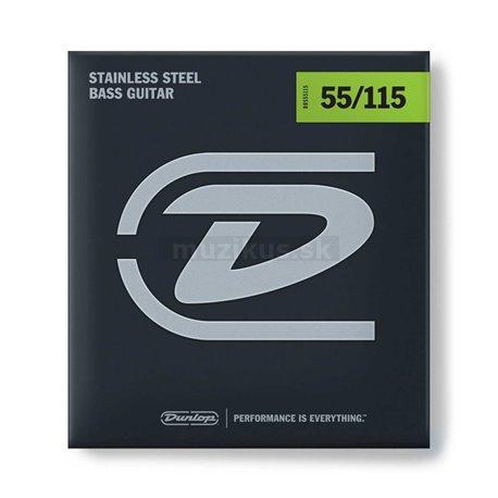 Dunlop Bass Stainless Steel - DBS55115 - Bass String Set, 4-String, Extra Heavy, .055-.115