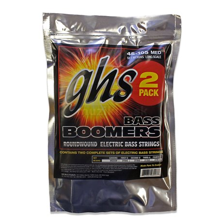 GHS Bass Boomers - M3045 - Bass String Set, 4-String, Medium, .045-.105, 2-Pack