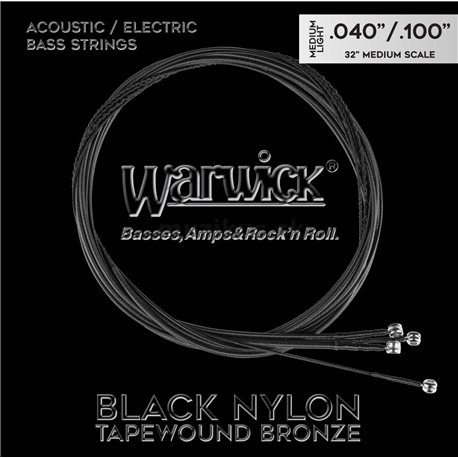 Warwick Black Nylon Tapewound Acoustic / Electric - Bass String Set, 4-String, Medium Light, 040-.100, Medium Scale