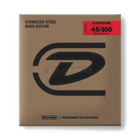Dunlop Bass Flatwound Stainless Steel - DBFS045105M - Bass String Set, 4-String, Medium, .045-.105 - Medium Scale