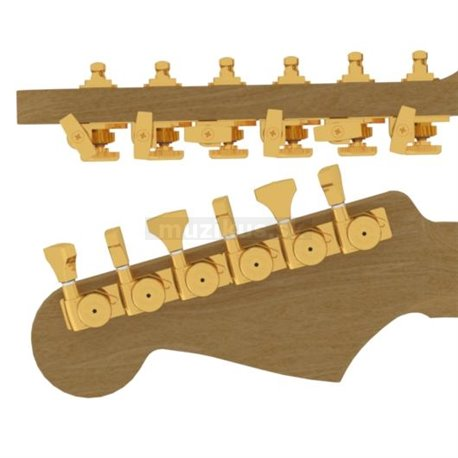 Hipshot Tuner Upgrade Kit, with Universal Mounting Plates, 6-in-Line (left / bass side), staggered Posts - Gold