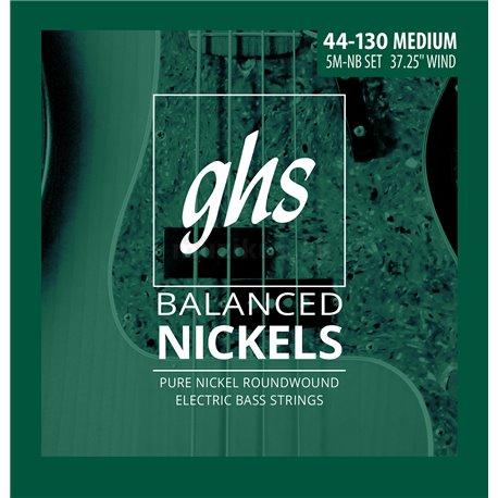 GHS Balanced Nickels - 5M-NB - Bass String Set, 5-String, Medium, .044-.130