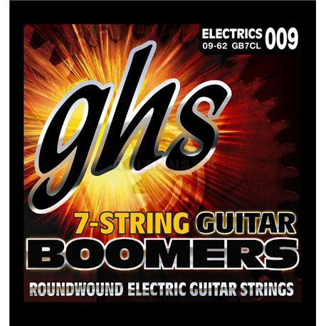 GHS Guitar Boomers - GB7CL - Electric Guitar String Set, 7-String, Custom Light, .009-.062