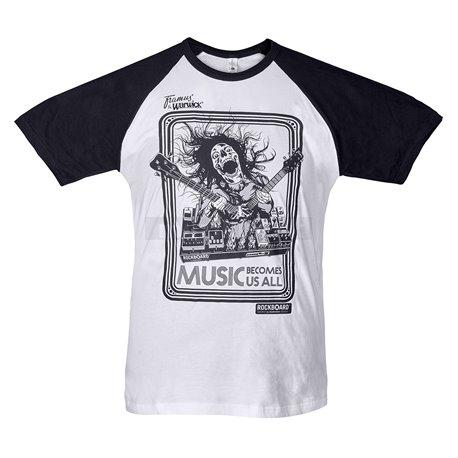 RockBoard Promo - Screamer Baseball T-Shirt White/Black - Size M
