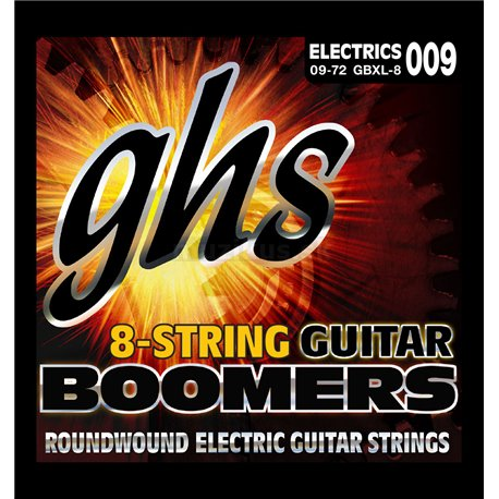 GHS Guitar Boomers - GB8XL - Electric Guitar String Set, 8-String, Extra Light, .009-.072