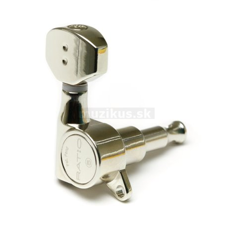 Ratio Machine Heads PRN-4721-N0 - Electric, 6-in-line (left / bass side), Mini Contemporary Button, Offset Screw - Nickel