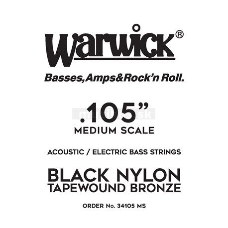 Warwick Black Nylon Tapewound Acoustic / Electric - Bass Single String, .105, Medium Scale