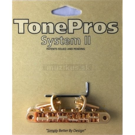 TonePros AVR2P - Tune-o-matic Bridge with pre-notched Saddles - Gold