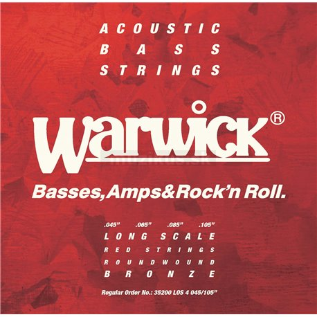 Warwick RED Strings - Acoustic Bass String Set, 4-String, .045-.105, Bronze, Long Scale