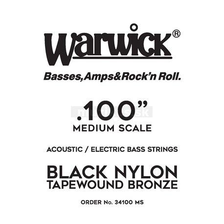 Warwick Black Nylon Tapewound Acoustic / Electric - Bass Single String, .100, Medium Scale