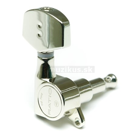 Ratio Machine Heads PRN-4411-N0 - Acoustic, 3+3, Contemporary Button, Offset Screw - Nickel