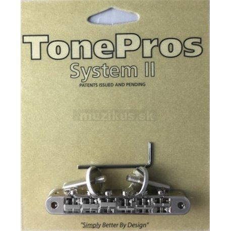 TonePros AVR2P - Tune-o-matic Bridge with pre-notched Saddles - Nickel