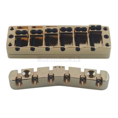 Warwick Parts - 3D Bridge + Tailpiece, 6-String, Brass - Gold