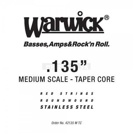 Warwick RED Strings Stainless Steel - Bass Single String, .135, Taperwound, Medium Scale