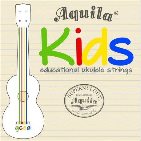 Aquila 138U - Kids - Multi Color Educational Ukulele String Set, Soprano/Concert, High-G Tuning - incl. Pamphlet & Sticker