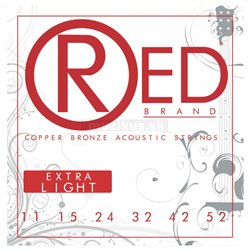 Cleartone RED Brand Copper Bronze Acoustic String Set, Extra Light, .011-.052