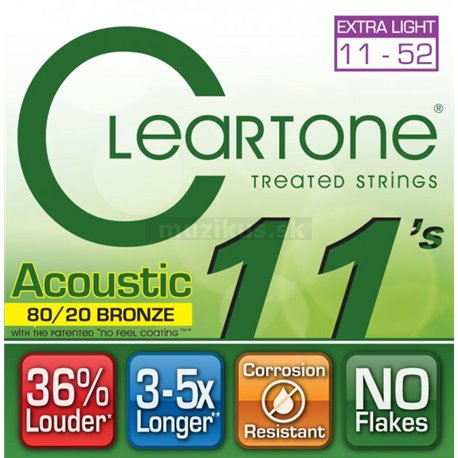 Cleartone Acoustic EMP 80-20 Bronze, Acoustic Guitar String Set, Extra Light, .011-.052