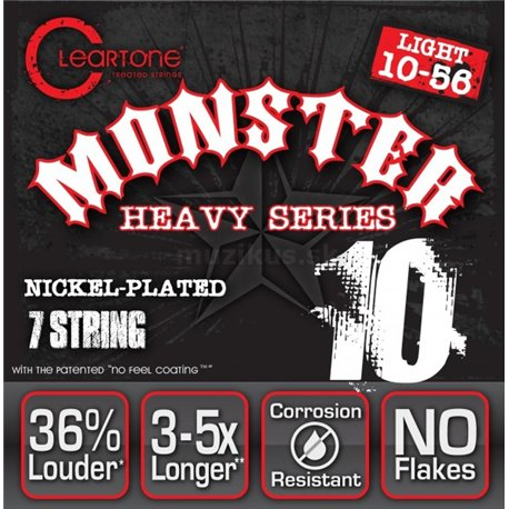 Cleartone Monster Heavy Series Nickel-Plated EMP, Electric Guitar String Set, Light, .010-.056