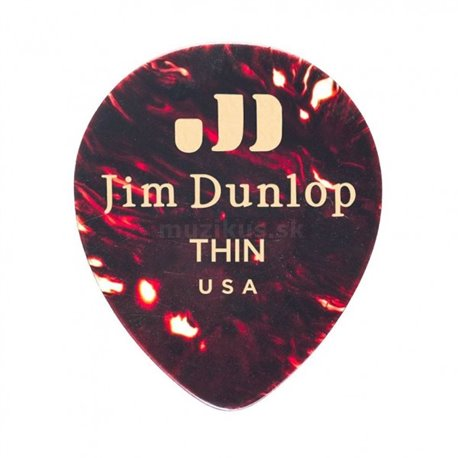 Dunlop Genuine Celluloid Teardrop Picks, Player's Pack, 12 pcs., shell, thin