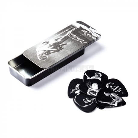Dunlop Jimi Hendrix Silver Portrait Pick Tin, 12 Picks, assorted motives, medium