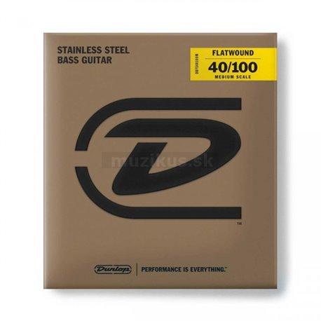 Dunlop Bass Flatwound Stainless Steel - DBFS040100M - Bass String Set, 4-String, Medium Light, .040-.100 - Medium Scale