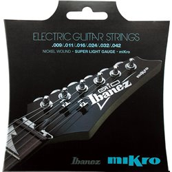 """IBANEZ String Set Electric Guitar Nickel Wound 6-String for IBANEZ Mikro 22,2"""" Scale, 10-46"""