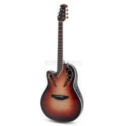 Ovation E – akustická kytara Celebrity Elite Plus Mid Cutaway Lefthand Ruby Burst CE44LX-1R
